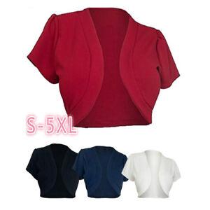 Fashion-Women-Short-Sleeve-Cropped-Bolero-Shrug-Lady-Cardigan-Solid-Short-Tops