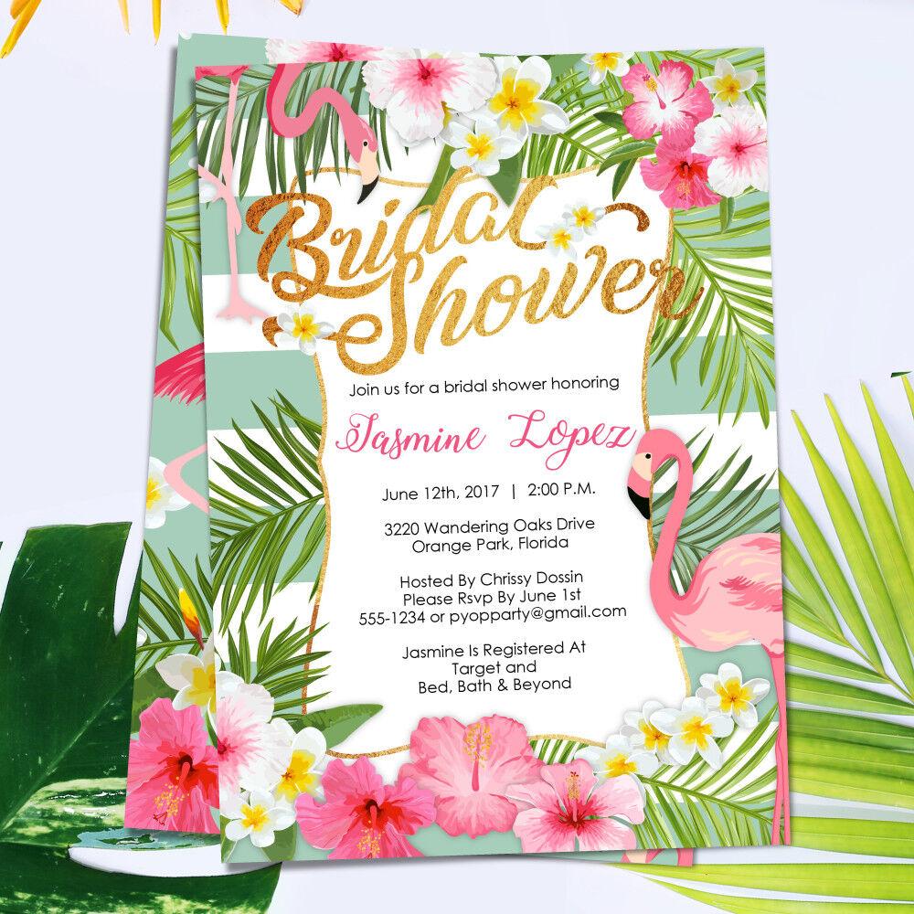 Tropical Bridal Shower Invitations / Flamingo / Luau / Mint Gold ...