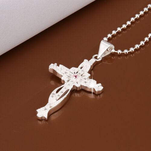 Elegant 925 Sterling Sliver Filled Clear Crystal Cross Pendant Chain Necklace