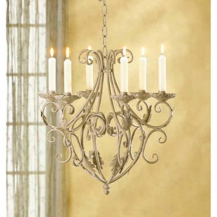 OLD WORLD IRON ROYALTY'S 6 TAPER HOLDERS CHANDELIER