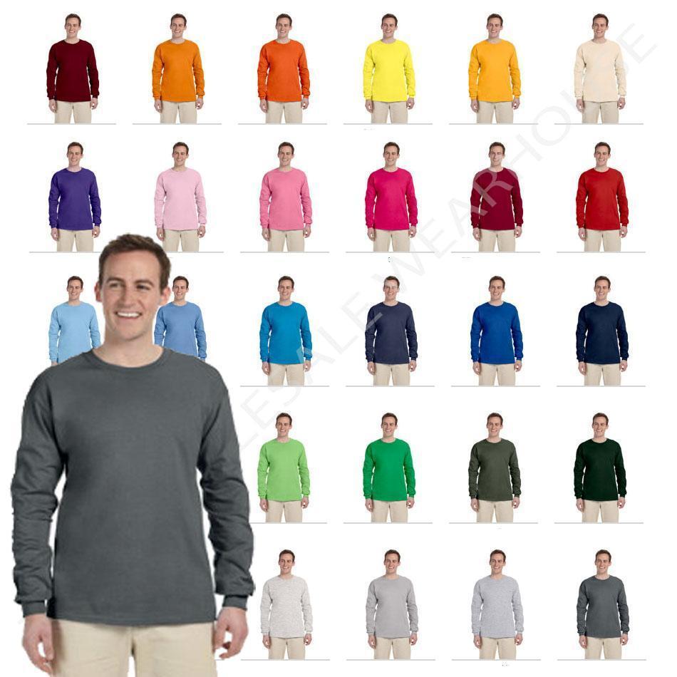 1fb46d2d Fruit of The Loom Heavy Cotton Long Sleeve Mens T Shirt 4930r Purple  3x-large   eBay