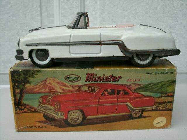 Vintage India Tin Litho Minister Delux Convertible Friction Car in Box
