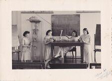 Creepy c1940s Photo - Ladies Posing With Skeleton, Bones - Medical - Macabre