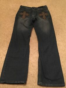Mens-Xtreme-Couture-Dark-Blue-Jeans-Denim-30x32-Distressed-30-X-32-Goth-Rave