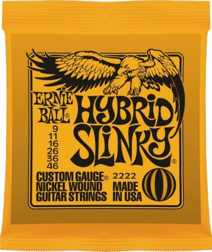 3 Separate Packs 3 x Ernie Ball Hybrid Slinky Electric Guitar Strings 9-46