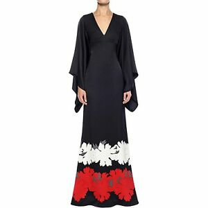b8174db7c657 Image is loading BNWT-Alexander-McQueen-Black-Satin-Kimono-Dress-IT40-