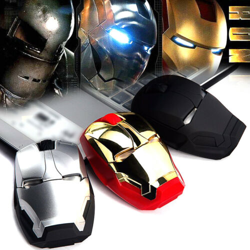 Iron Man Mouse Wireless Gaming Gamer Computer Mice Silent Button Click 2.4g USB
