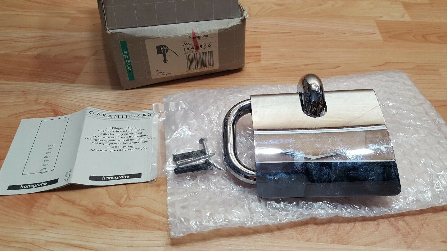 HANSGROHE TOILET PAPER HOLDER W  COVER, 40536, CHROME FINISH Atoll