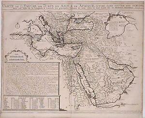 Antique-map-Carte-de-l-039-empire-des-Turcs-en-Asie-amp-en-Afrique