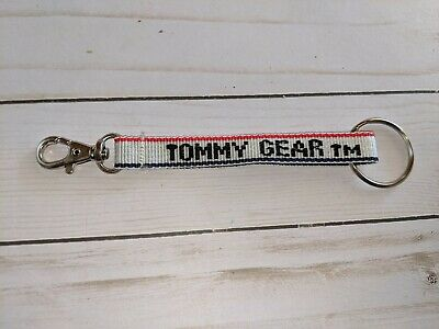 TOMMY GEAR Key Ring Key chain Backpack Gear Hilfiger RED White clip Vintage
