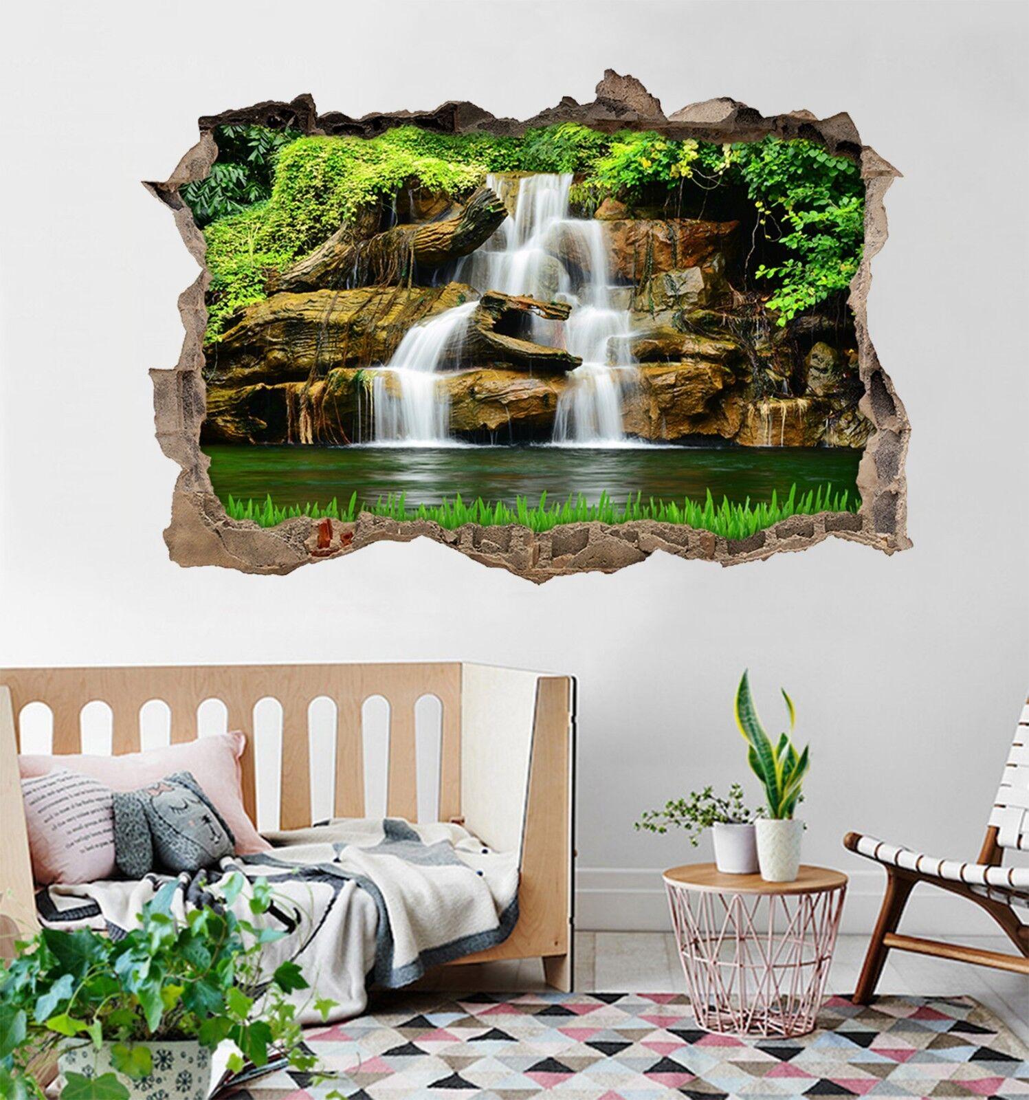 3D Lago Fiume Vista 023 Parete Murales Adesivi Decal Sfondamento AJ WALLPAPER IT