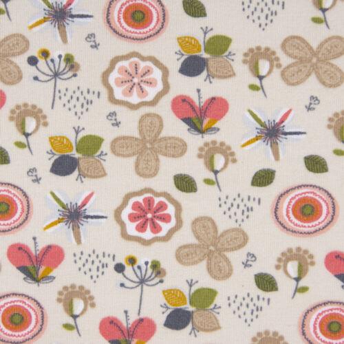 Bio-Sweatstoff Sweat Bio GOTS Blumen abstrakt beige apricot grün grau 1,5m Breit
