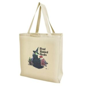 7c13c932d97f Read Banned Books Witch and Monkey Grocery Travel Reusable Tote Bag ...