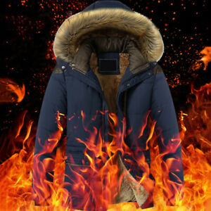 Winter-Men-039-s-Fashion-Down-Jacket-Warm-Thick-Fur-Collar-Outerwear-Hooded-Coat-US