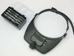 Head Magnifier Glass 4 Lens Headset with Light
