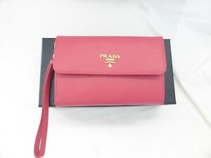 3c72190eac88be Image is loading NEW-Prada-Saffiano-Leather-Wristlet-Wallet-Pink