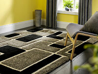 Venice Imperial Modern Shaggy Rugs In Black / Grey 3d Effect Pile 120x170cm