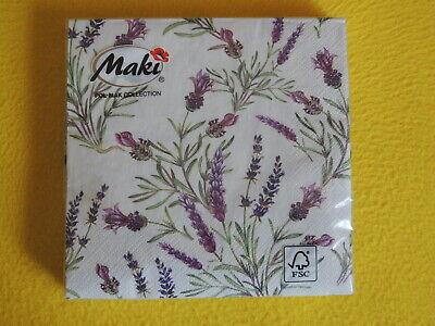 20 Servietten Lavendel Zweige Lavender Twigs 1 Packung Ovp Motivservietten