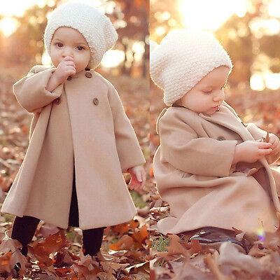 New Kids Children Girls Solid Winter Wind Coat Jacket Outwear for 2-11 Years