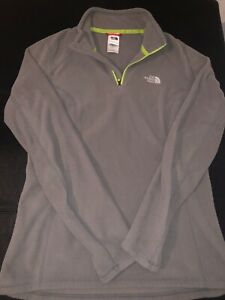The-North-Face-Women-s-Dark-Grey-Green-Fleece-Half-Zip-Pullover-Medium