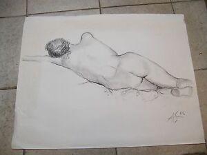 Fusain-Etude-de-nu-allonge-Andre-Simon-1926-2014-2002-Artiste-Lorrain