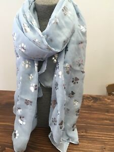 Baby-Blue-Paw-Print-Ladies-Scarf-Metalic-Glitter-Silver-Foil-Print-Dog-Cat