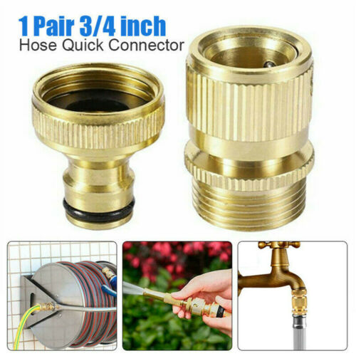 """NEW Garden Water Hose Quick Connector 3//4/"""" Brass Easy Connect Fitting Yard Tools"""