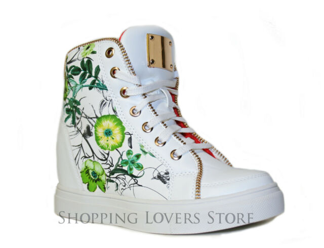 SCARPE Donna Sneakers Sportive Ginnastica Fiori Rialzo INTERNO 7 Cod S44