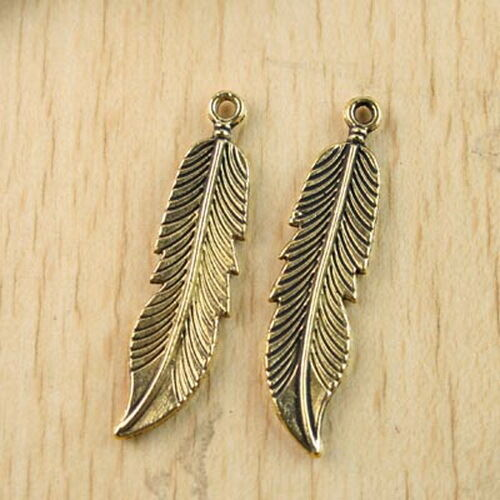 8pcs dark gold-tone feather charm findings h1299