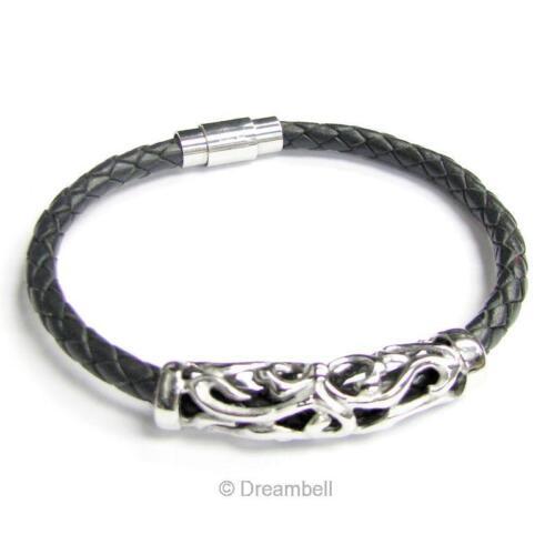"""Stainless Steel Flower Pendant 5mm Braided Black Leather Magnetic Bracelet 8/"""""""