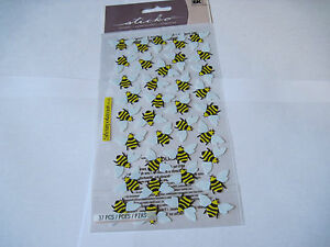 Scrapbooking-Stickers-Sticko-Small-Bumble-Bee-Repeats-Yellow-Black-Bees-Wings