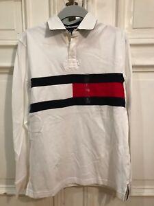 new product 21269 36885 Details zu Tommy Hilfiger Poloshirt Polo Shirt langarm Gr. S f. Herren weiß  100% Cotton NEU