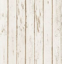 299068 Cream Shabby Chic Rustic Worn Wood Effect Feature Wallpaper (67399)