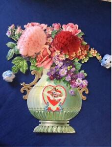 HUGE-VTG-17-034-Antique-Valentine-Card-Embossed-Roses-Honeycomb-Vase-1911-RARE