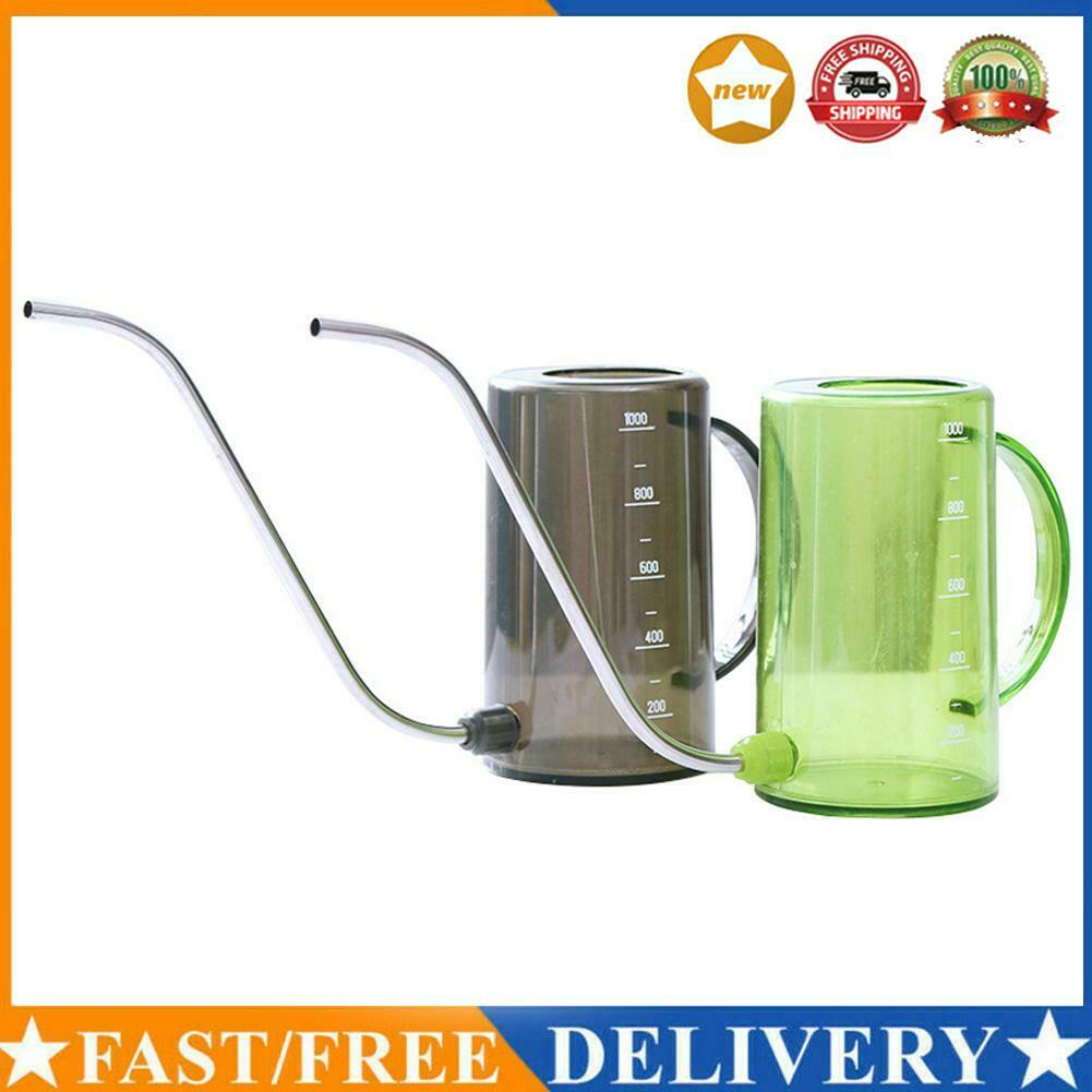 1000ml Transparent Flower Sprinkler Long Mouth Stainless Steel Watering Can R1BO