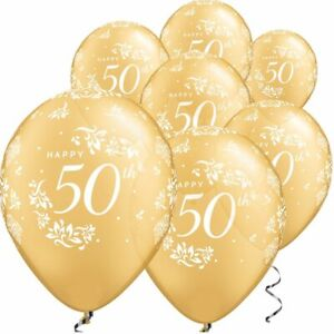 6-x-50th-Golden-Wedding-Anniversary-Marrage-Gold-11-034-Latex-Balloons-Party-17781