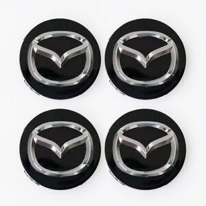 4x-56mm-Mazda-Nabendeckel-Felgendeckel-Nabenkappen-Schwarz
