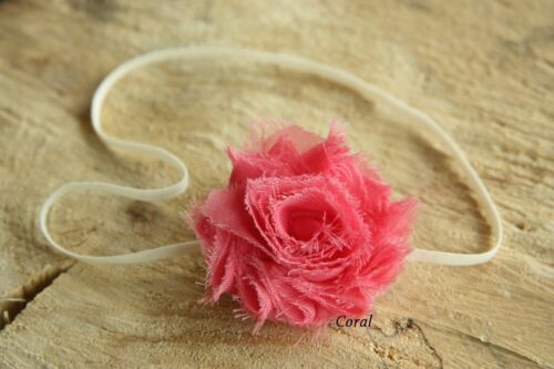Baby Girl Headband Elastic Petite Mini Shabby Flower Rose Christening Wedding