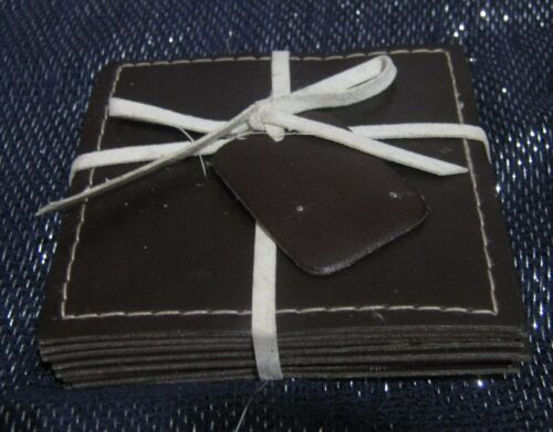 8x Faux Leather coasters brown approx 3 x 3 ins