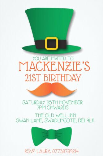 Personalised Irish Theme Leprechaun Birthday Party Invites inc envelopes IR3