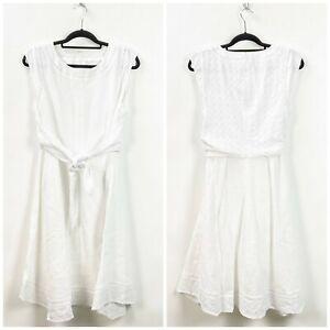 Cabi-14-NWOT-Womens-White-Lizze-Lace-Sleeveless-A-line-Dress