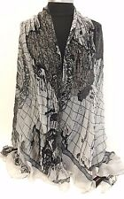 NEW Women Girl Chiffon Scarf Map Print Large Silk Long Soft Shawl Wrap, Gray