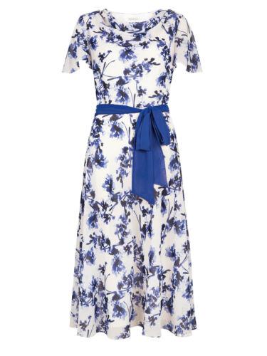 Jacques Vert Cowl Neck Flower Print Tie Occasion Dress ex Jacques Vert Dress