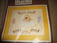 Bucilla Needlepoint Kit Baby Sampler 4124 Persian Wool Yarn 12 X 14