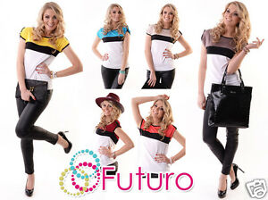 Senoras-Top-Informal-Multicolor-Nuevo-Manga-Corta-Cuello-Bote-T-SHIRT-TAMANOS-8-18-8112