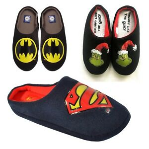98ba7922b8ed90 Image is loading Mens-Batman-Superman-Grinch-Novelty-Mules-Indoor-Slippers-