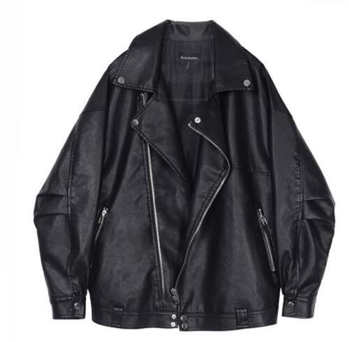 casuale dell'unità di donne di cuoio di del elaborazione motociclo Cappotto allentato del delle Outwear nuovo Oversize wpPETqSv