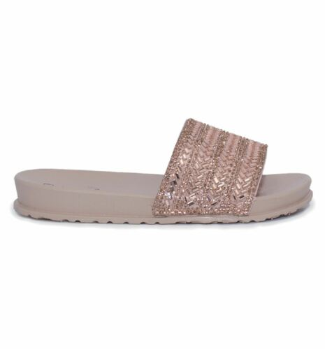 Girls Sliders Slippers Sandals Mules Sparkly Diamante Summer Rubber Flip Flop