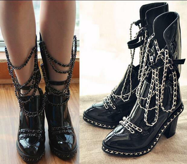 Womens Ankle Boots Patent Leather Chain Punk Chunky Pull On Slim Shoes New