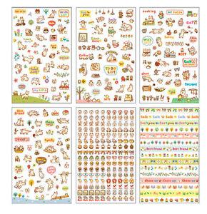 6-Sheets-Cute-Stickers-Small-Kawaii-Korean-Diary-Scrapbook-Craft-Transparent-Cat